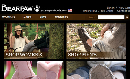 Bearpaw Boots :: click the image to view Bearpaw Boots eCommerce Solution